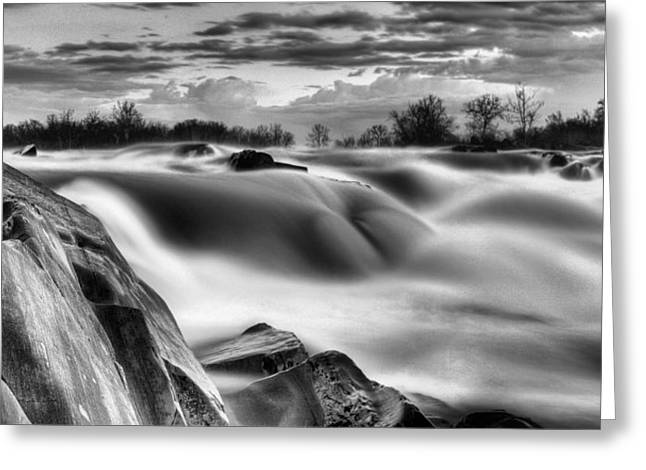 """great Falls"" Greeting Cards - Smooth Black and White Greeting Card by JC Findley"