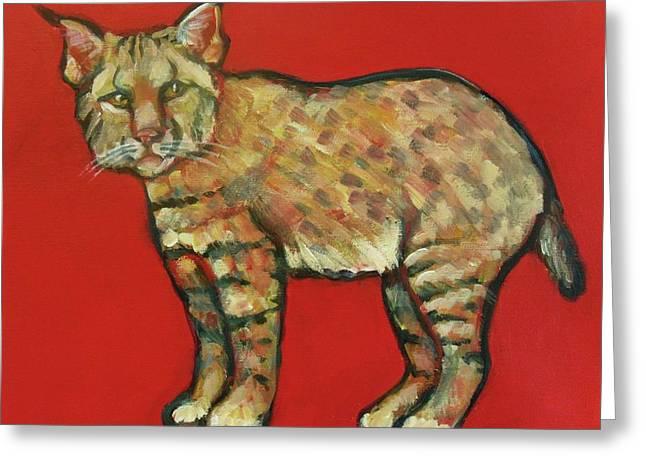 Smug Bobcat Greeting Card by Carol Suzanne Niebuhr