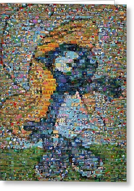 Smurfette Greeting Cards - Smurfette The Smurfs Mosaic Greeting Card by Paul Van Scott