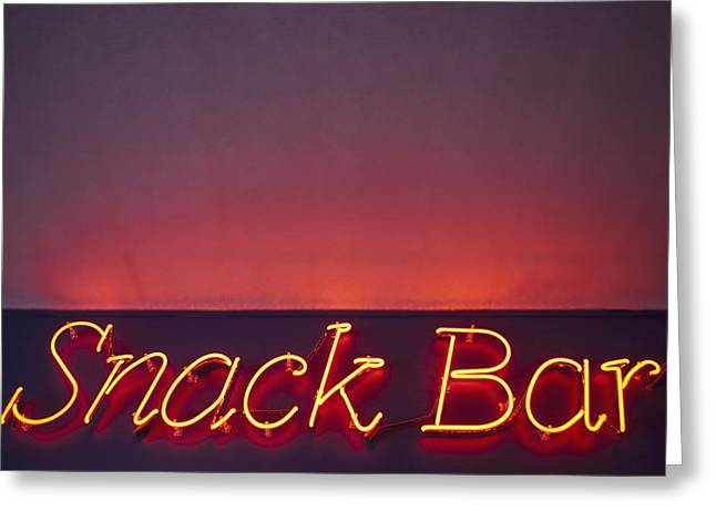 Night Cafe Greeting Cards - Snack Bar Sign In Neon Lights Greeting Card by Bryan Mullennix
