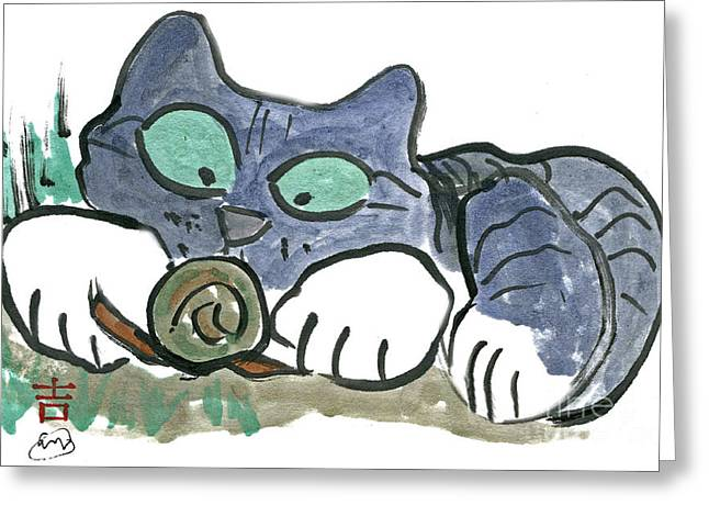 Pictures Of Cats Paintings Greeting Cards - Snail Greeting Card by Ellen Miffitt