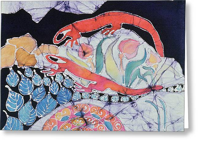 Snail with Red Efts Greeting Card by Carol  Law Conklin