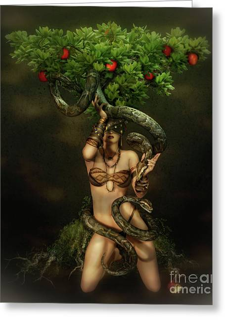 Apple Art Greeting Cards - Snake Charmer Greeting Card by Shanina Conway