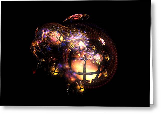 Fractal Orbs Greeting Cards - Snake Feeding Frenzy Greeting Card by Adam Vance
