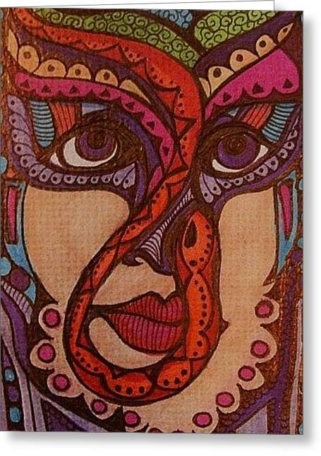 Warrior Goddess Mixed Media Greeting Cards - Snake Goddess  Greeting Card by Gerri Rowan