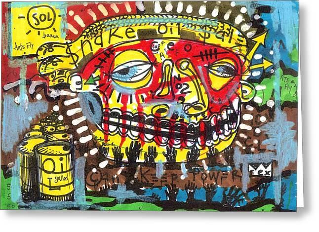 Post Modern Greeting Cards - Snake Oil Salesman Greeting Card by Robert Wolverton Jr