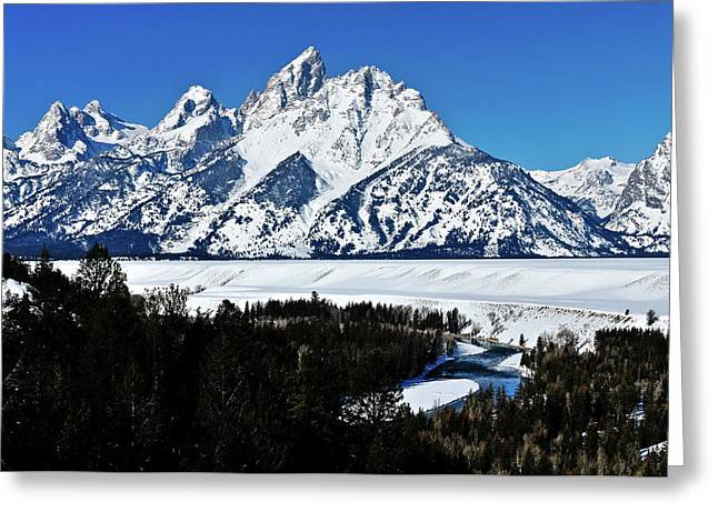 Grand Teton National Park Greeting Cards - Snake River Winter Overlook Greeting Card by Greg Norrell