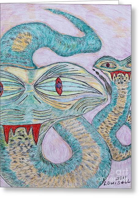 Conte Pencil Drawings Greeting Cards - Snake Twins Greeting Card by Robyn Louisell