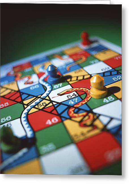 Board Game Greeting Cards - Snakes And Ladders Greeting Card by Tek Image