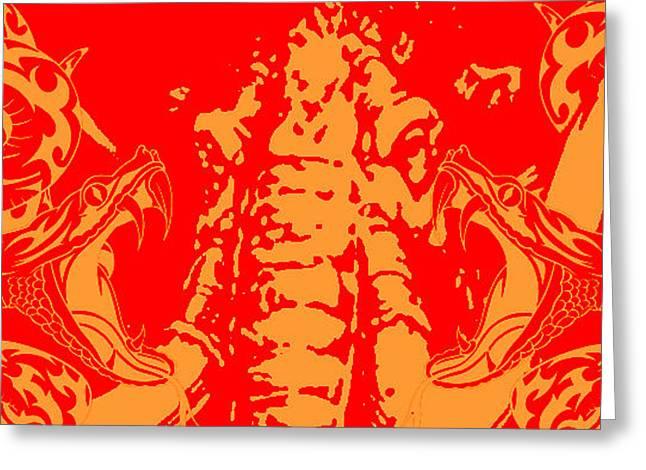 Snakestodon Greeting Card by Dustin Emenhiser