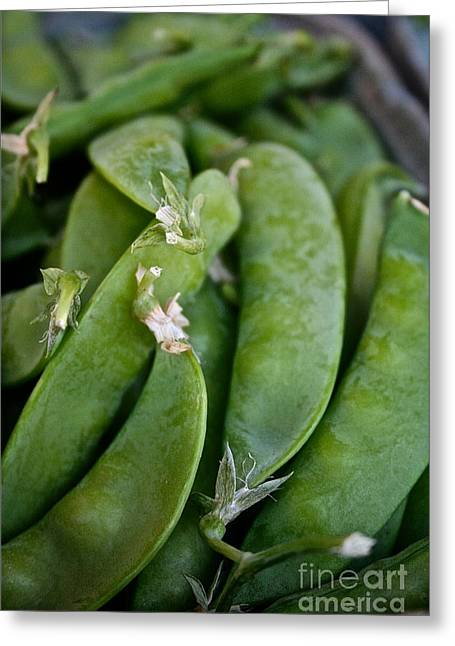 Locally Grown Greeting Cards - Snap Peas Please Greeting Card by Susan Herber