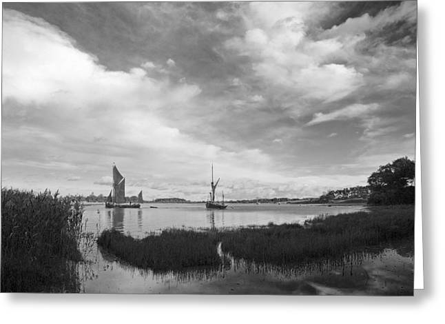 Snape Greeting Cards - Snape Maltings Wherrys Greeting Card by Stephen  Wakefield