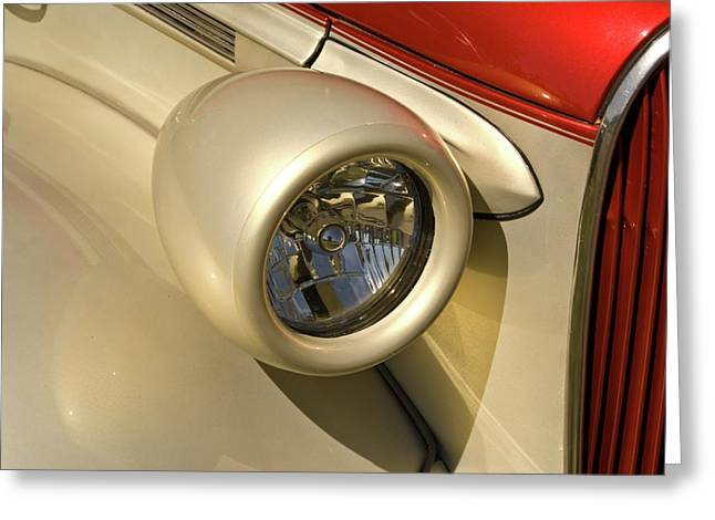 Festivities Greeting Cards - Snazzy Headlamp on Antique Car Greeting Card by Douglas Barnett