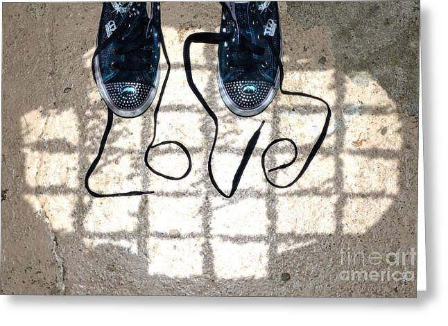 Sneaker Lace Greeting Cards - Sneaker Love 1 Greeting Card by Paul Ward