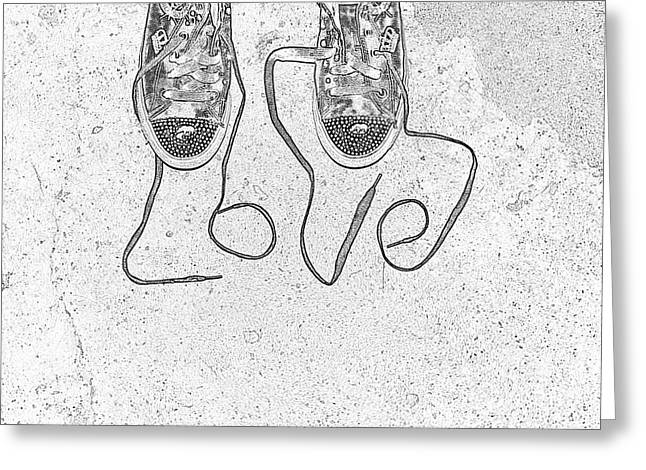 Sneaker Lace Greeting Cards - Sneaker Love 2 Greeting Card by Paul Ward