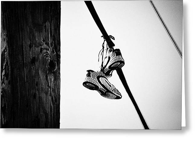 White Sneakers Greeting Cards - Sneakers on Power Line Greeting Card by Bill Cannon