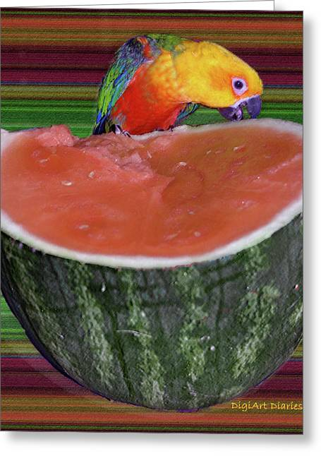 Watermelon Digital Art Greeting Cards - Sneaking a Bite Greeting Card by DigiArt Diaries by Vicky B Fuller