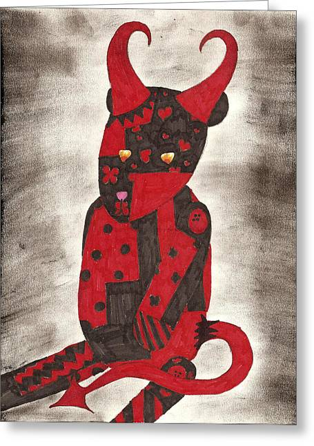 Patch Work Greeting Cards - Sneeky Little Devil Greeting Card by Syvanah  Bennett