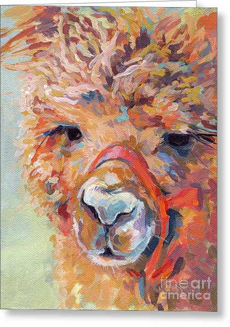 Alpaca Greeting Cards - Snickers Greeting Card by Kimberly Santini