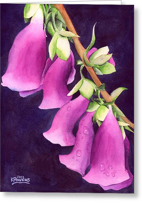 Foxglove Flowers Paintings Greeting Cards - Snoqualmie Dew Greeting Card by Ken Powers