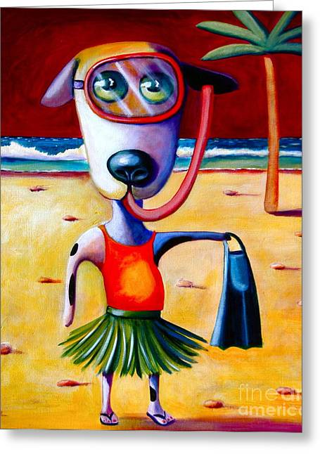 Dog Beach Card Greeting Cards - Snorkel Pup Greeting Card by Mary Naylor