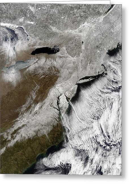 Northeastern United States Greeting Cards - Snow Across The Northeastern United Greeting Card by Stocktrek Images