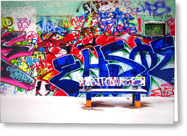 Tara Turner Greeting Cards - Snow and Graffiti Greeting Card by Tara Turner