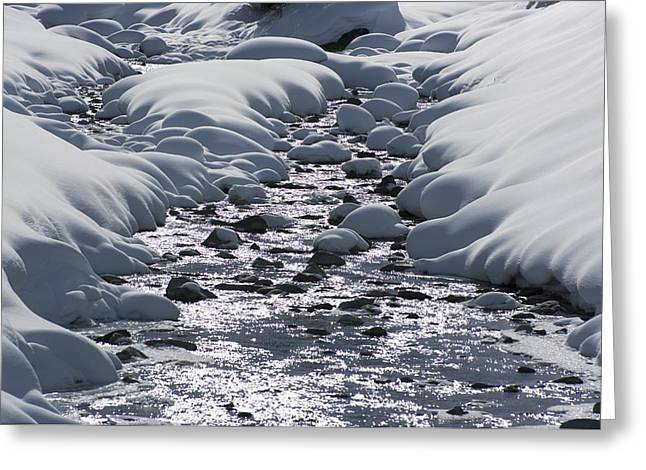 Powder Snow Greeting Cards - Snow And Stream Greeting Card by Dr Juerg Alean