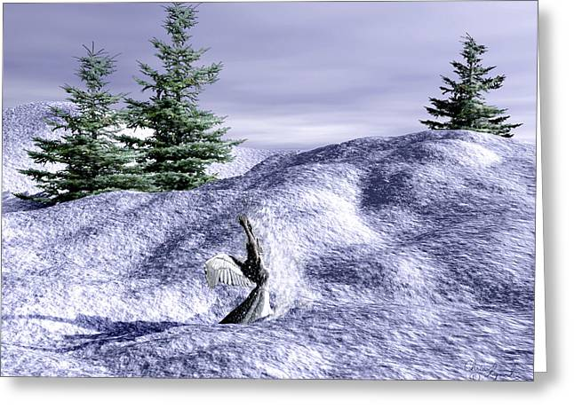 Playing Angels Digital Greeting Cards - Snow Angel Greeting Card by Christopher Lynch