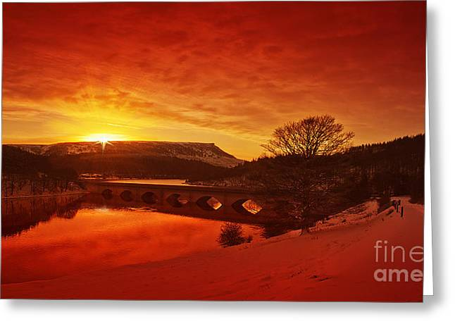 Snow At Ladybower Greeting Card by Nigel Hatton