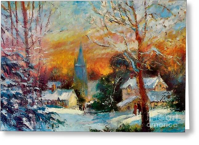 Snowy Evening Mixed Media Greeting Cards - Snow at Sunset winter evening Breton village France Greeting Card by Jeanette Leuers