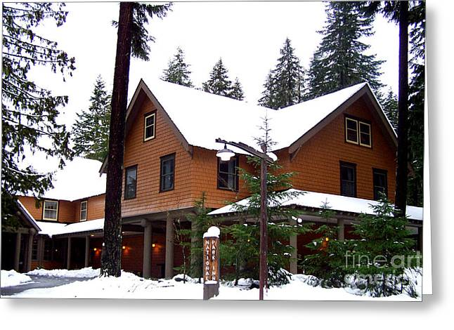 Snowy Evening Greeting Cards - Snow Atop the Inn at Longmire Greeting Card by Kathy  White