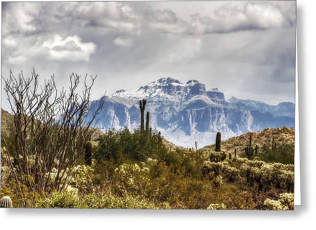 The Supes Greeting Cards - Snow Atop The Superstitions Greeting Card by Saija  Lehtonen