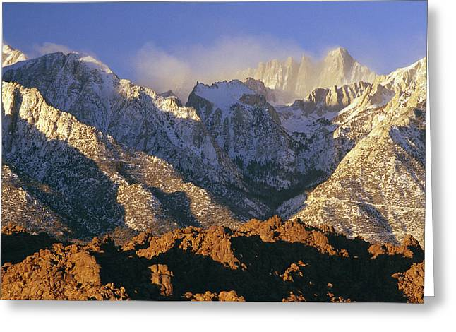 Mount Whitney Greeting Cards - Snow Blows From Mount Whitney. The Greeting Card by Phil Schermeister