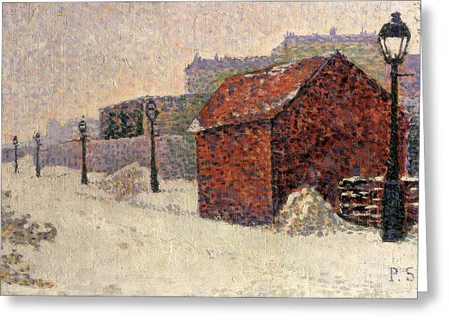 Signac Greeting Cards - Snow Butte Montmartre Greeting Card by Paul Signac