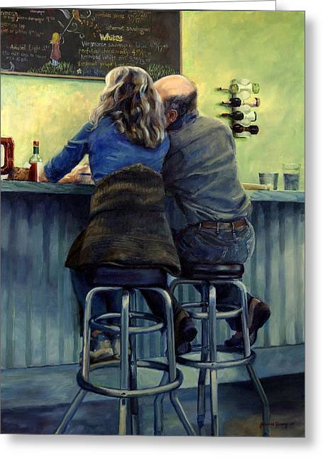 Table Wine Greeting Cards - Snow City Lovers Greeting Card by Jeanne Young