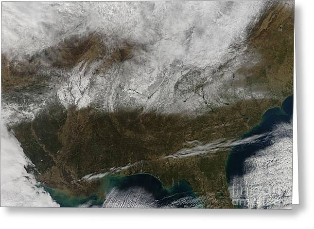 Snow Cover Stretching From Northeastern Greeting Card by Stocktrek Images