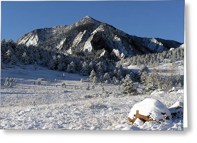 Table Mesa Greeting Cards - Snow covered Bear Mountain Greeting Card by John Myers