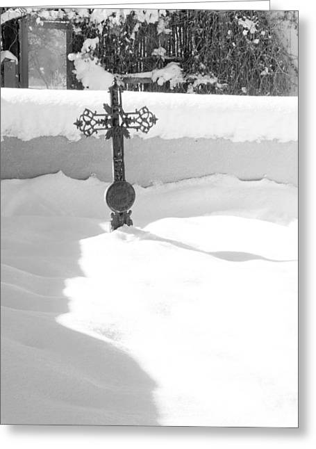 Taos Greeting Cards - Snow Covered Cross Greeting Card by Troy Montemayor