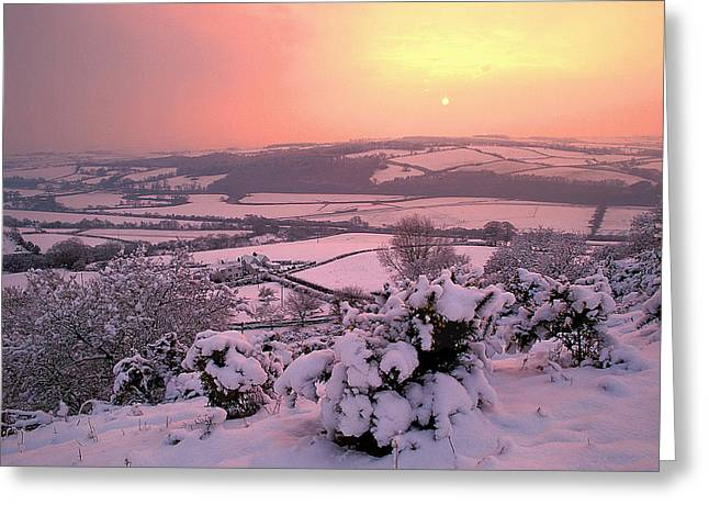 Snow Covered Field Greeting Cards - Snow Covered Hills Greeting Card by Dr Keith Wheeler