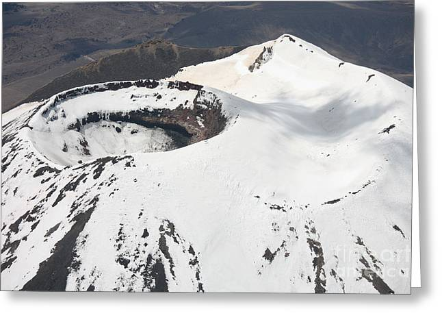 Compounds Greeting Cards - Snow-covered Ngauruhoe Cone, Mount Greeting Card by Richard Roscoe