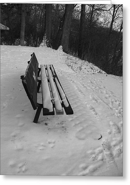 Mohawk Park Greeting Cards - Snow Covered Park Bench in Black and White Greeting Card by Corinne Elizabeth Cowherd