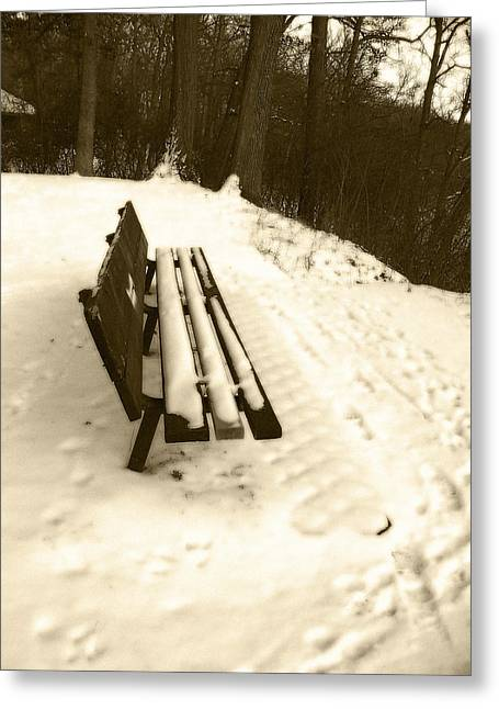 Mohawk Park Greeting Cards - Snow Covered Park Bench in Sepia Greeting Card by Corinne Elizabeth Cowherd