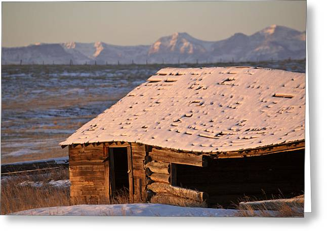 Old Cabins Greeting Cards - Snow covered Rocky Mountains in Alberta winter Greeting Card by Mark Duffy