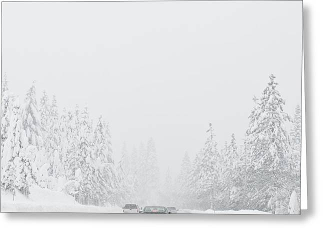 Snow-covered Landscape Greeting Cards - Snow-Covered Rural Highway Greeting Card by Dave & Les Jacobs