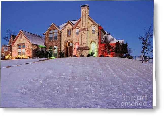 Front Yard Greeting Cards - Snow Covered Yard and Stone House Greeting Card by Jeremy Woodhouse