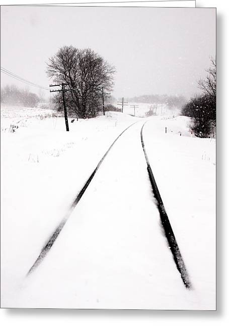 Rail Line Greeting Cards - Snow crossing Greeting Card by Russell Styles