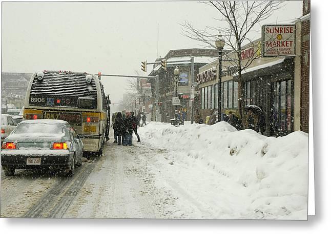 Boston Ma Greeting Cards - Snow Day Brighton Greeting Card by Gordon Gaul