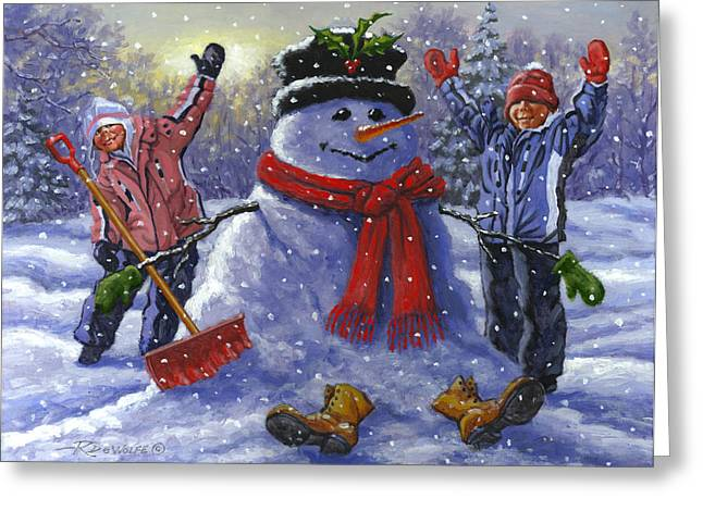 Childs Play Greeting Cards - Snow Day Greeting Card by Richard De Wolfe