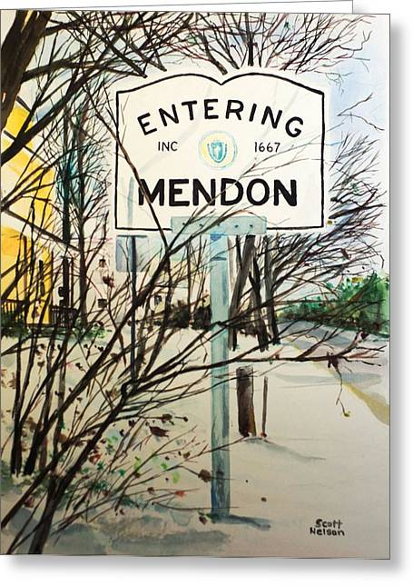 Scott Nelson And Son Paintings Greeting Cards - Snow Day Greeting Card by Scott Nelson